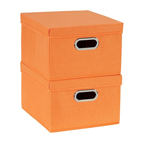 Household Essentials 702-1 Bin Lids and Handles | 2 Pack | Orange Fabric Box Set,