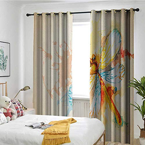 TRTK Decor Curtains by Suitable for Living Room Bedroom Room Dark Panel Dragonfly,Watercolor Moth with Branch Print Wings on Abstract Backdrop Pale Yellow Peach and Orange -