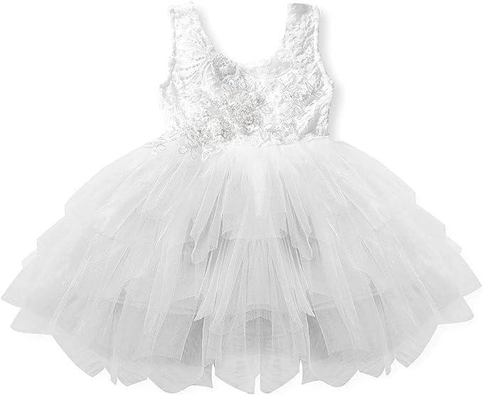 TENDYCOCO Vestido Niña de Las Flores Blanco de Princesa Vestido ...