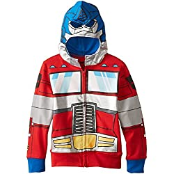 Transformers Little Boys' Optimus Prime Character Hoodie, Reds, 4