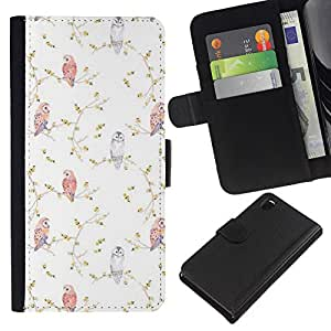 KLONGSHOP // Tirón de la caja Cartera de cuero con ranuras para tarjetas - Viñeta Birds Wallpaper Blanca - Sony Xperia Z3 D6603 //
