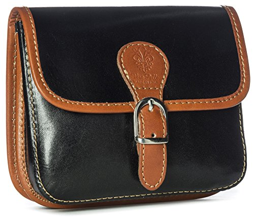 Big Handbag Shop, Borsa a tracolla donna One Nero (Black-Tan Trim)