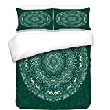 Difference Between Cal King and Eastern King 3Pcs Duvet Cover Set,Mandala Decor,Religious Eastern Ancestral Circle Form with Swirling Leaves Revival Retro Design,Teal,Best Bedding Gifts for Family/Friends