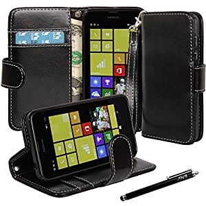 Nokia 635 Case, Lumia 635 Case, E LV Nokia 635 Case - Deluxe Classic PU Leather Flip Wallet Case Cover for Nokia Lumia 635 with 1 Black Stylus - Black