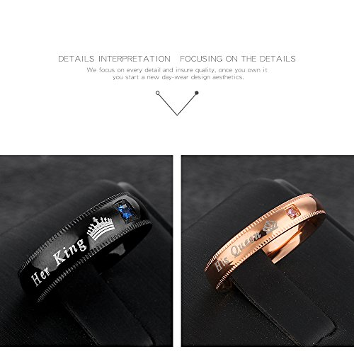 Fate Love Jewelry 2Pcs Matching set Stainless His Queen & Her King Black/Rose Gold Couple Rings Bands, Love Gift by Fate Love Jewelry (Image #5)
