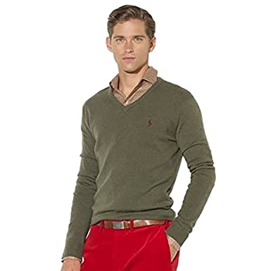 1477001f69 RALPH LAUREN Polo Men's Wool Classic V-Neck Sweater Estate Green ...