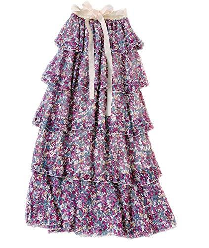 - Femirah Women's Chiffon Floral Ruffle Pleated Skirt A Line Tiered Skirt (Purple)