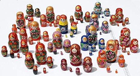 Lot 3 Sets of 5 Cute Nesting Stacking Wooden Dolls Matryoshka Babushka Russian Ethnic Art by C2A Enterprise by C2A Enterprise