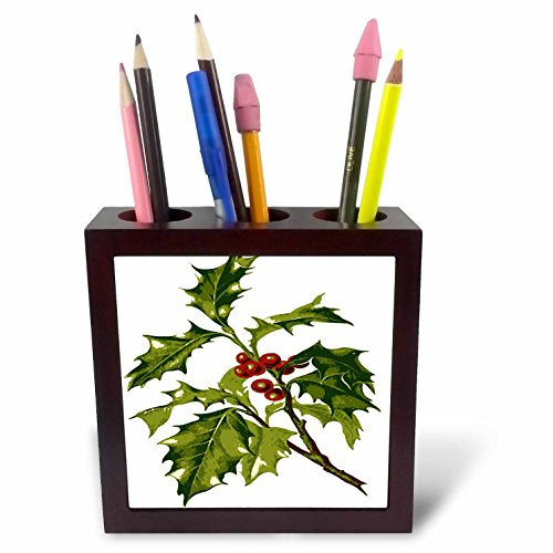 Berry Tiles (3dRose Taiche - Vector - Christmas Holly - Holly Christmas Red Berry - 5 inch tile pen holder (ph_273638_1))