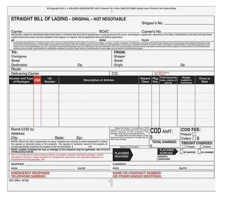 Bill of Lading Form, Reg Compliance, PK250 by J. J. Keller