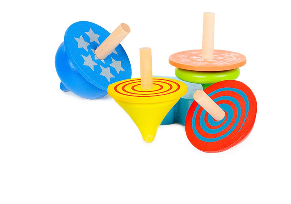 Geloo Gyroscope, 3 Pcs/Set Handmade Painted Wood Spinning Tops, Wooden Toys Educational Toys Kindergarten Toys Standard Tops by Geloo (Image #3)