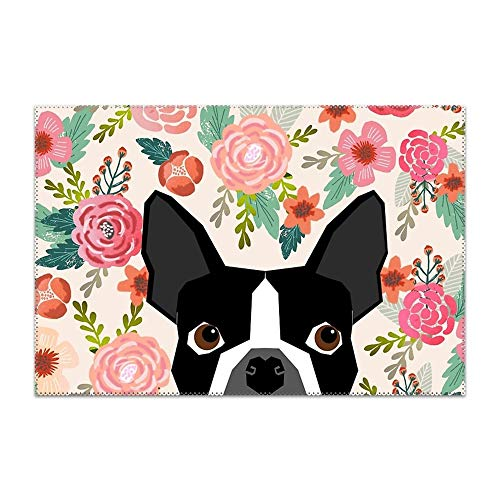 Hodmadod Heat-resistand Woven Vinyl Table Mats 12x18 inches Set of 4 Boston Terrier Dog Florals Placemats ()
