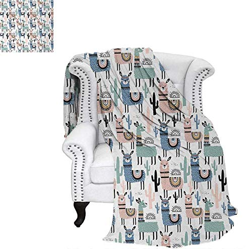 "Price comparison product image Throw Blanket Children Cartoon Style Hand Drawn South American Animals Alpacas and Llamas Design Velvet Plush Throw Blanket 50""x30"" Multicolor"