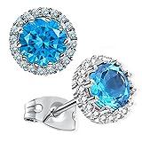 Gagafeel Birthstone Stud Earrings for Women Girl Cubic Zirconia Copper Platinum Hypoallergenic Earrings (12.December)