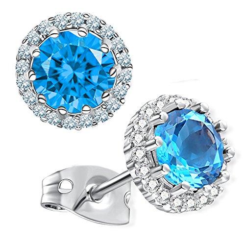 Gagafeel Birthstone Stud Earrings for Women Girl Cubic Zirconia Copper Platinum Hypoallergenic Earrings (12.December) - Mom Set Earrings