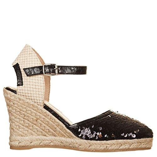 VialeScarpe Msh-16601pane_35 - Zapatos de cordones de Con Cuentas para mujer negro negro 35 negro