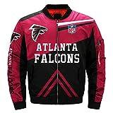 Mens NFL Football Jacket Rugby Jacket Colorful Flight Bomber Outdoor Sports Lightweight Coat S-5XL (Atlanta Falcons,3XL)