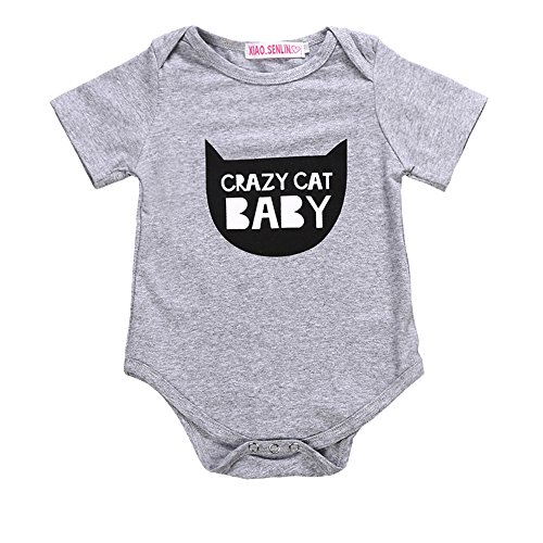 Cat Infant (HappyMA Newborn Infant Baby Romper Crazy Cat Baby Jumpsuit Baby Layette Bodysuit Outfits (6-12 Months))