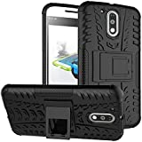 Chevron Military Grade Armor Kick Stand Back Cover Case for Moto G4 Plus 4th , Black
