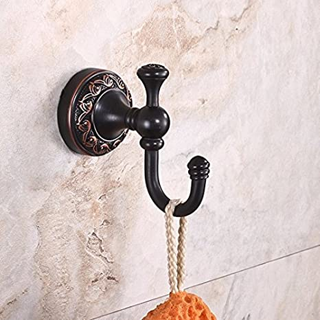 Gancho para toallas vintage FDLK,Vintage negro de latón sólido percheros,FDLK Vintage Antique Hat ropa de abrigo Toalla de baño Robe ganchos de pared ...