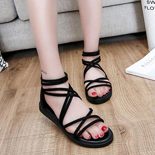 Sandalias de vestir, Ouneed ® Mujeres Bohemia Plano Ocio Sandalias Zapatos Peep-Toe (40, Azul)