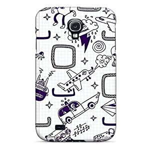 Galaxy S4 Case Cover - Slim Fit Tpu Protector Shock Absorbent Case (doodles)