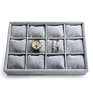 Oirlv Velvet Stackable Jewelry Trays 12 Grids Watch Bracelet Bangle Display Organizer Tray with Pillow Home Storage Store Displays