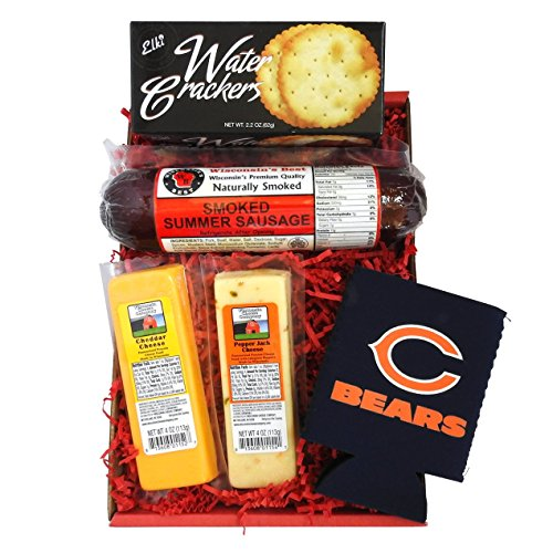 Bears Snacker Gift Basket - features Smoked Summer Sausages, 100% Wisconsin Cheeses, Crackers and a Chicago Bears Coozie, Perfect Gift Basket for the True NFL Bears Fan
