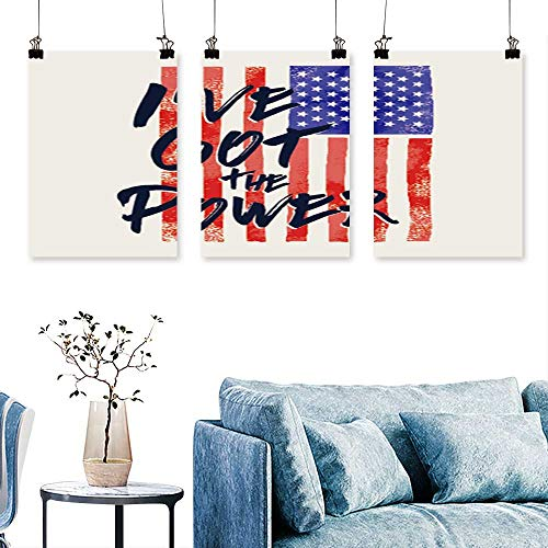 - SCOCICI1588 3pcs Triptych America Flag Message i ve got The Power Typography t Shirt Graphics s Artwork for Wall Decor Triptych 16 INCH X 30 INCH X 3PCS
