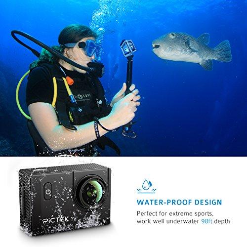 Pictek Action Camera, Waterproof WIFI Sports Video Camera