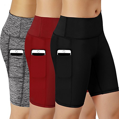 Women Performance Athletic Compression Shorts with Side Pocket Pack of 3 (BlackGreyRed, Small(Fit Waist: 27