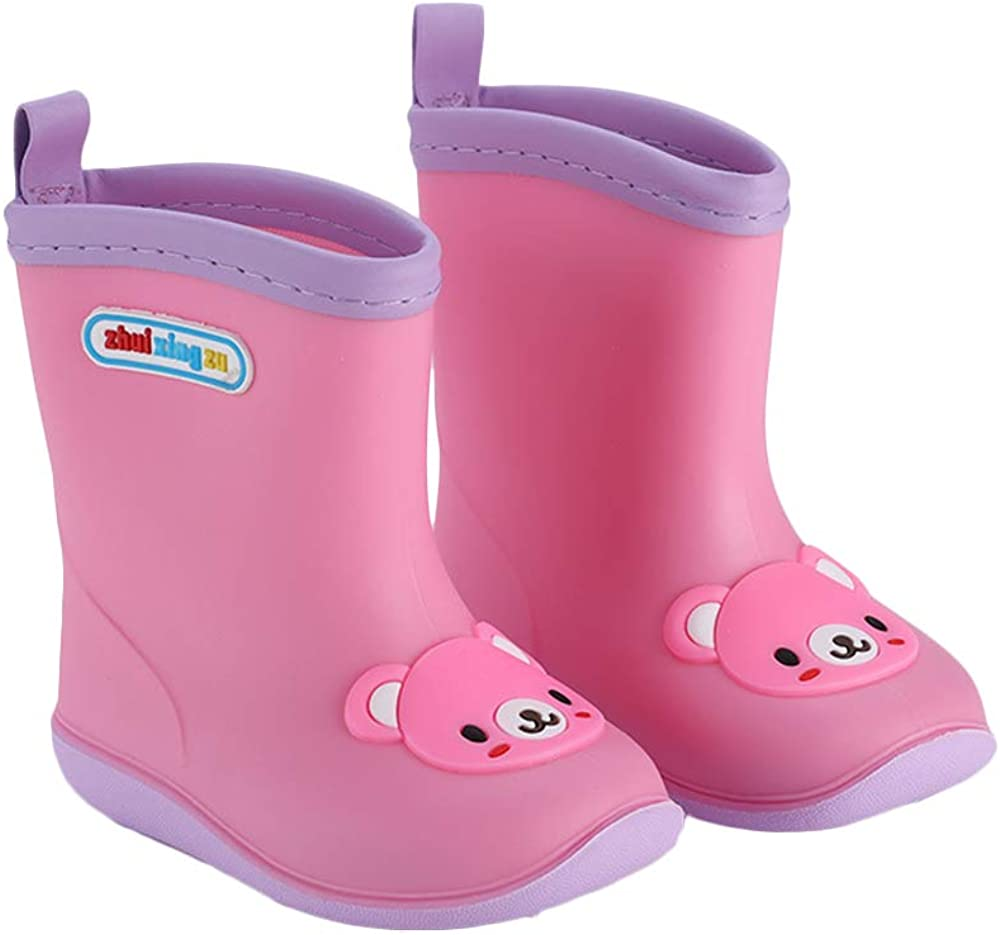 Bilingouy 3D Kids Rain Boots Girls Boys Cartoon Rubber Waterproof Boots Rain Shoes