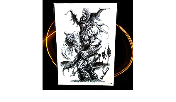 ruofengcp Brave Warrior Strongman Negro Impermeable Tatuaje ...