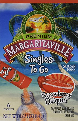 Margaritaville Singles to Go Drink Mix, Strawberry Daiquiri, 6 Count (Pack of 6)