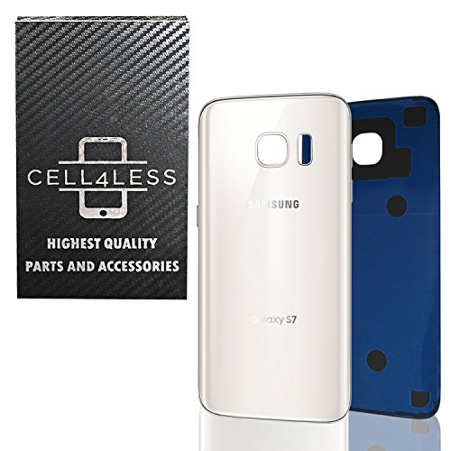 CELL4LESS Compatible Back Glass Cover Back Battery Door w/Pre-Installed Adhesive Replacement for Samsung Galaxy S7 - All Models G930 All Carriers- 2 Logo - OEM Replacement (White Pearl)