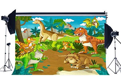 Gladbuy Vinyl 5X3FT Dinosaur Backdrop for Photography Zoo Trees Green Grass Meadow Blue Sky White Cloud Cartoon Background Sweet Baby Shower Boys Kids Happy Birthday Party Photo Studio Props -