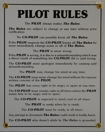 Pilot Rules - Metal Sign