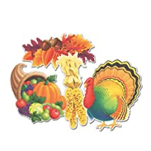 Beistle 4-Pack Decorative Packaged Thanksgiving Cut-Outs, 14-Inch