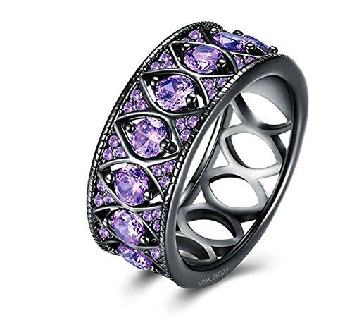 ANAZOZ Black Gold Plated 1CM Wide Purple Cubic Zirconia CZ Bridal Engagement Wedding Band Ring Size 9