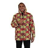 utopia africa Kente Hoodie Jacket - Pink/Yellow - XL