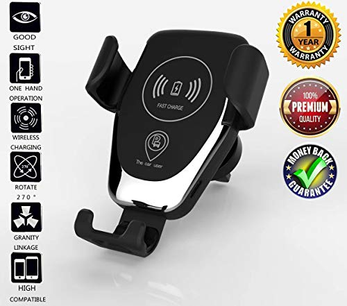 Dkaile Wireless Charger Car Mount, One-Hand Auto Clamping Air Vent Phone Holder, 10W Fast Charging for Samsung Galaxy S9 S8 S7 Note 8. 7.5W Compatible with iPhone Xs XR X 8 and Qi Enabled Devices. (Phone Charger Wind)