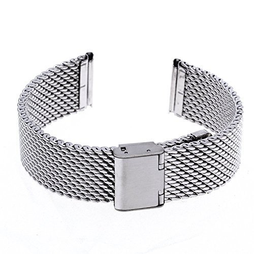 Ritche 20mm Mesh Stainless Steel Bracelet Wrist Watch Band Strap Silver Clasp