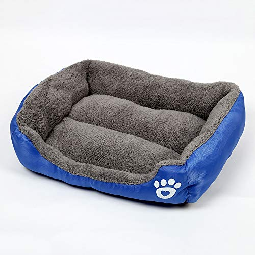 Dark bluee Pet Supplies hyx Candy color Four Seasons Genuine Warm Pet Dog Kennel Mat Teddy Dog Mat, Size  S, 43×32×10cm (color   Dark bluee)