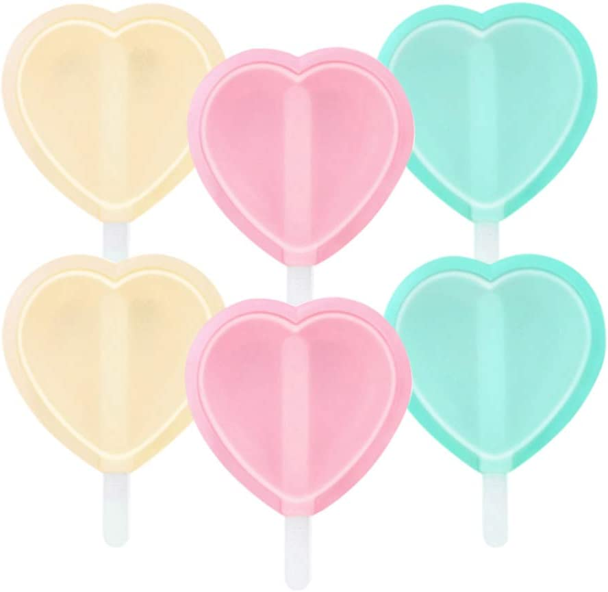 YOSTAR Ice Lolly Moulds, Ice Lolly Maker, Popsicle Molds Set, Silicone Ice Cream Moulds with Non-Spill Lid, Easy to Remove, Dishwasher Safe, Pack of 6 Love Shape (Heart Shape)
