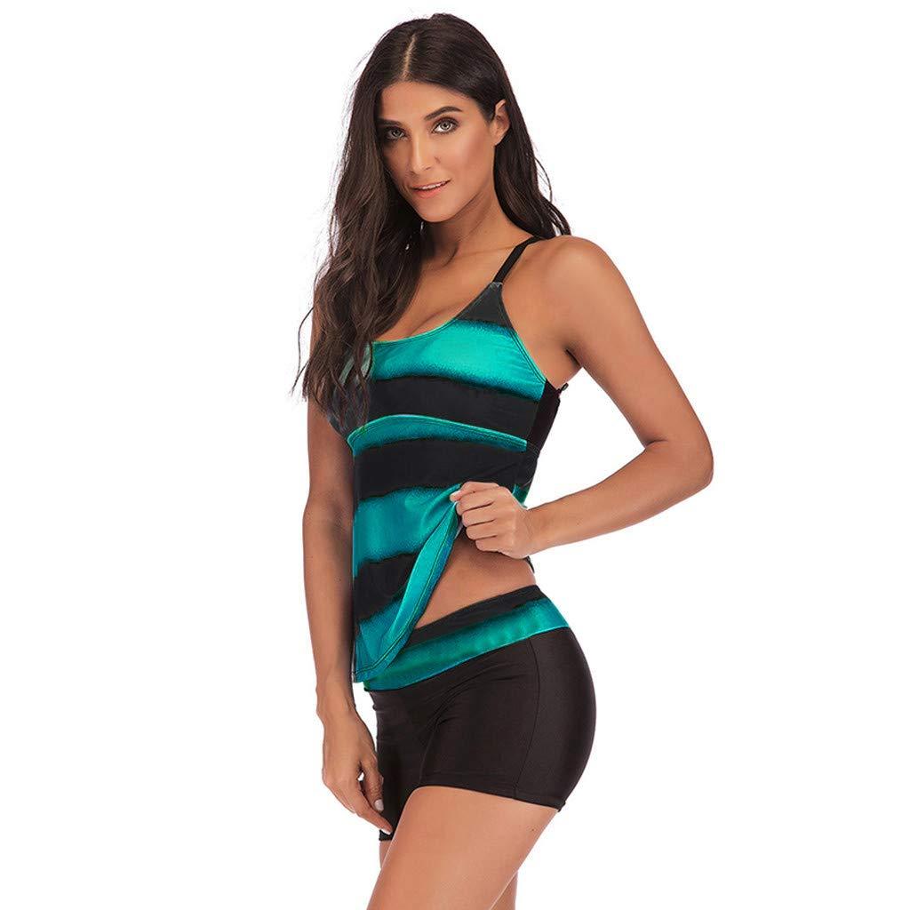 Rishine Women Swimsuits Two Pieces Plus Size Gradient Racerback Tankini Bikini Swimwear Bodyshort Bathing Suit