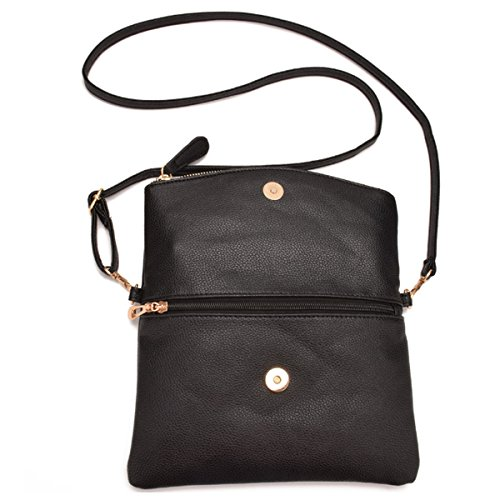 Bag Handbag Foldover Black1 Crossbody Wristlet Shoulder Womens Leather Girls Tassel Meliya Envelope Bags Pu nwBHZ7Sxq