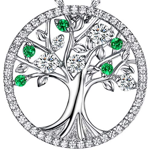 August Birthstone Green Peridot Necklace Tree of Life LC Emerald Sterling Silver Jewelry Birthday Gifts for Women 20 Chain