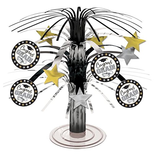 Cascade Decoration (Black, Silver and Gold Graduation Party Caps and Stars Mini Cascade Table Centerpiece Decoration, Foil, 7