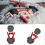 Newborn Baby Boy Costume Crochet Outfits Photography Props Cap Beanie with Suspenders Bowtie Diaper (0- 6months)