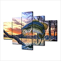 JESC Modular Canvas Wall Art Pictures Home Decor Living Room Modern HD Prints Poster 5 Pieces Jumping Bass Fishing Painting Framework
